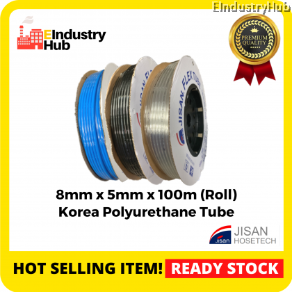 KOREA JISAN Polyurethane Pneumatic Hose PU Pneumatic Air Tube Polyurethane PU Tube Polyurethane PU Air Hose Tube Pneumatic Air Hose 8mm x 5mm x 100m (Roll)